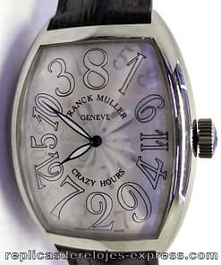 Franck muller color dream 04 (crazy hours) esfera blanca,correa de piel maron