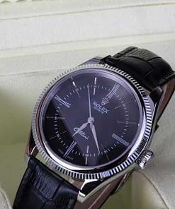 Replica de reloj Rolex Cellini 06 esfera negra y correa negra