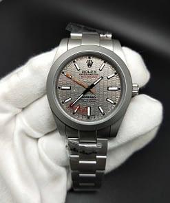 Replica de reloj Rolex Milgauss 02 Bamford (40mm) automático esfera Gris Titanium