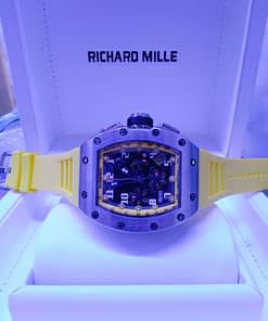 Richard Mille 09 correa caucho amarilla, caja de acero, esfera negra