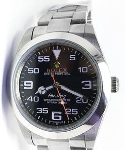 Replica de reloj Rolex Air-King 02 automático caja de acero esfera Negra/rojo/40mm