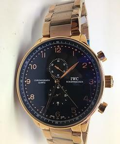 Iwc Portuguese 04 (41mm) chronograph esfera negra/Correa Oro