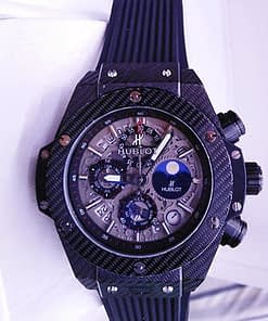 Hublot Big bang Unico 37 (45mm) Black magic, esfera gris,correa de caucho negro,cronografo