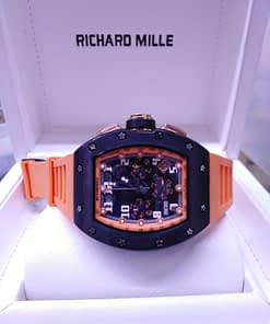 Richard Mille 15, correa de caucho nararanja,caja negra,esfera negra
