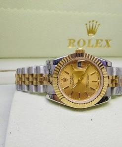 Replica de reloj Rolex Datejust mujer 005 (31mm)Acero y oro, correa jubilee, Esfera dorada