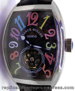 Franck muller color dream 07 (crazy hours) tourbillon,esfera negra,correa de piel