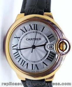 Replica de reloj Cartier Ballon blue 03 mujer (33mm) Correa de piel negra (quartz)