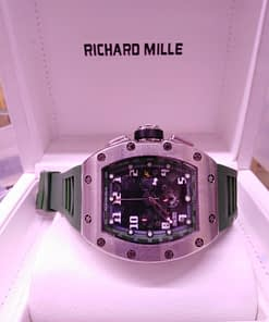 Richard Mille 12, correa de caucho verde, caja de acero, esfera negra, cronografo
