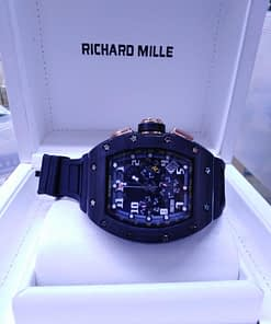 Richard Mille 14, black magic, totalmente negro, correa de caucho negro, chronograph, esfera negra