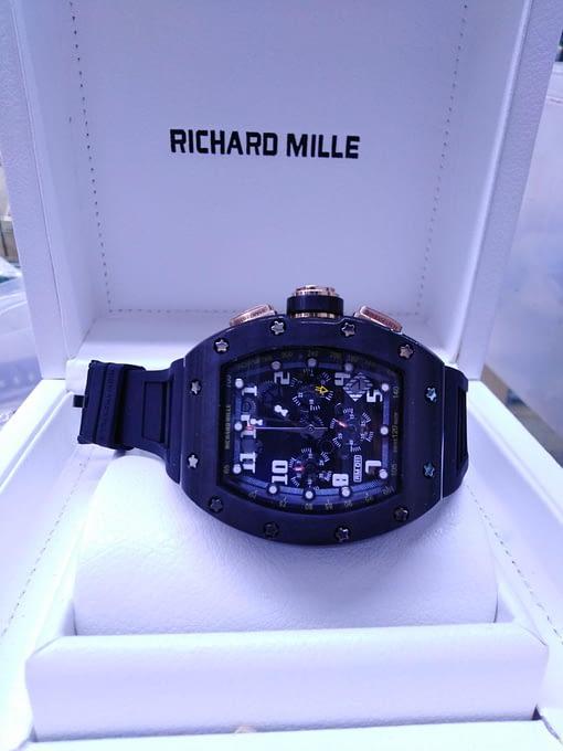 Richard Mille 14, black magic, totalmente negro, correa de caucho negro, chronograph, esfera negra