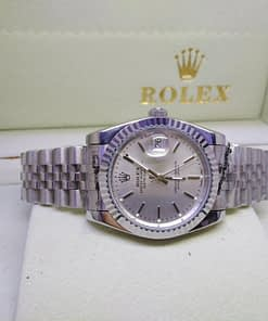 Replica de reloj Rolex Datejust mujer 002 (31mm) esfera gris/acero inoxidable, correa jubilee