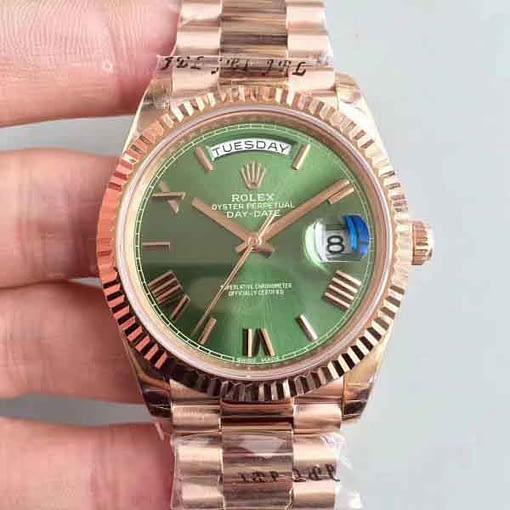 Replica de reloj Rolex Day-date 04 (40mm) 228235 esfera verde/ correa president/automático/40 aniversario