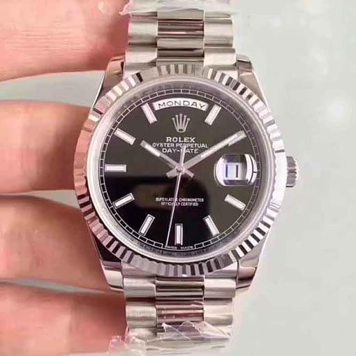 Replica de reloj Rolex Day-date 27 (40mm) 228239 Esfera negra Oro blanco President