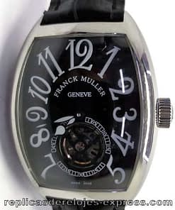 Franck muller color dream 06 (crazy hours) esfera negra,caja de acero,tourbillon,correa de piel
