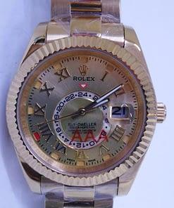 Rolex Sky-Dweller 13 (42mm) automático, esfera dorada, Oro, oyester, numeros romanos,