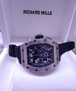 Richard Mille 07 , correa negra, esfera negra, cronografo, caja de acero