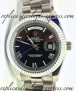 Replica de reloj Rolex Day-date 06 (40mm) 228239 Esfera negra/ correa president oro blanco