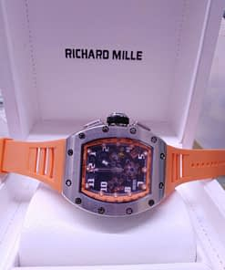 Richard Mille 10 correa caucho naranja, caja de acero, esfera negra, chronografo