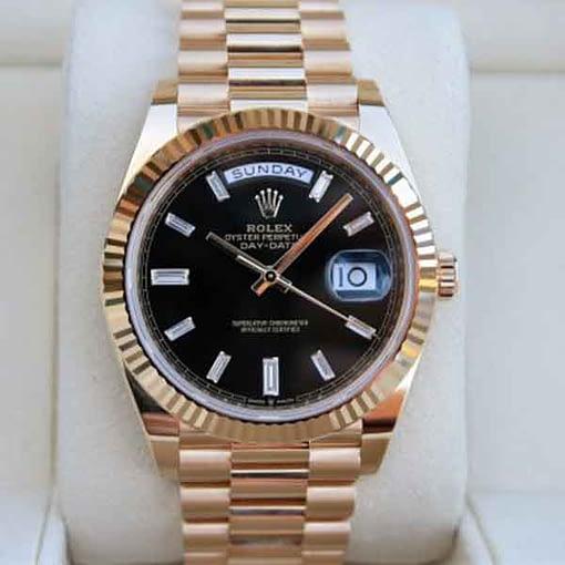 Replica de reloj Rolex Day-date 28 (40mm) 228238 Esfera negra President Oro amarillo/ automático