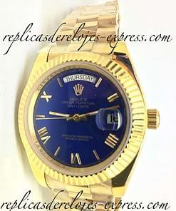 Replica de reloj Rolex Daydate 03 (40mm) 223238 Oro Amarillo /Correa president/automatico/esfera azul